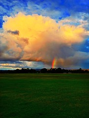 End of the rainbow (AdamsWife) Tags: phone iphone field paddock landscape farm rural weather sky rainbow clouds cloud