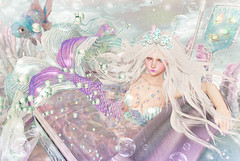 Fresh Mermaid (Gabriella Marshdevil ~ Trying to catch up!) Tags: sl secondlife cute pastel mermaid fantasy albino catwa bento arcade kawaii sexy siren moonamore blackbantam nani enfersombre