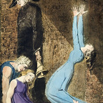 Man supporting supine woman, aged man with bell, and woman raising arms in blue dress illustration frm Europe: a Prophecy by William Blake (1752-1827). thumbnail