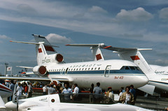 CCCP-42304 Yakovlev Yak-42 seen on static display at the Paris Airshow in 1979 (heathrow.junkie) Tags: aeroflot parislebourget yak42 yakovlev paris airshow cccp42304 cccp83966 an72