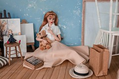 The Nostalgia Machine (Elle & Emma) Tags: poppy parker the bratter lovers barefoot park photoshoot doll diorama 16 scale miniature 50s retro vintage nostalgia teddy bear letters envelopes jason wu integrity toys