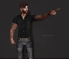 Hey you! (AW02) Tags: sl secondlife photography mesh avatar apparels clothes outfit styles mancave events fashionnatic legalinsanity pose ksposes stealthic hysteria gaeg signaturebody prodigyink