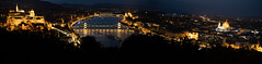 Budapest Panorama from Gellert Hill (nan palmero) Tags: budapest hungary hu sony sonya7riii sonyalpha nanpalmero citadella gellerthill night nightshot nightphotography libertybridge danube budapestcastle hungarianparliamentbuilding danuberiver pano panorama panoramic
