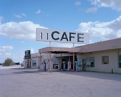cafe. desert center, ca. 2018. (eyetwist) Tags: eyetwistkevinballuff eyetwist desertcenter cafe sign roadsideamerica abandoned closed sonorandesert sonoran desert 4x5 largeformat fotoman 45ps kodak ektar100 ektar fujinon 150mm fotoman45ps fujinonw150mmf56 film emulsion filmexif iconla epsonv750pro lenstagger ishootfilm ishootkodak analog analogue sheetfilm americana americantypologies landscape arid california usa roadtrip road bypassed blythe signs type typography typographic clouds i10 roadtophoenix interstate 10 southwest offramp empty west gas gasoline pumps vintage old eaglemountain