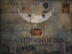 Postcard From The Edge - Voyager (jimlaskowicz) Tags: jimlaskowicz artistic typography flight travel paris postcard impressionistic victorian vintage surreal
