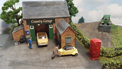 Country Life. (ManOfYorkshire) Tags: rover p6 messerschimdt garage country life farm countryside business local good farmer tractor ploughing field plough detailed modified weathered diorama scale m odel 176 oogauge oxforddiecast diecast cars bubblecar mechanic hornby
