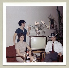 Party Time! (Vintage Cars & People) Tags: vintage classic colour color photo foto photography carnival birthday celebration party drinking boozing tv tvset television televisionset flowers vase bottles cinzano sheriff sheriffshat 1960s sixties livingroom lounge parlour sittingroom doily
