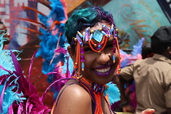 Charlotte Hornets Hair (Chuck Diesel) Tags: jamaicacarnival2018 costume masquerader roadmarch parade kingston jamaica orange purple teal