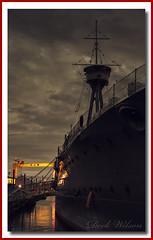 Samson on the Starboard side (Deek Wilson) Tags: hmscaroline destoyer silhouette harlandandwolff hw crane royalnavy battleofjutland nightphotography belfast northernireland night landmark samson goliath