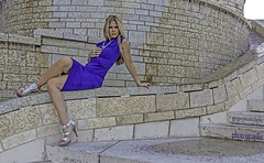 Rosie - waters fall to blue. (gregoryscottclarke photography) Tags: rosanneneddo museumofcanadianhistory pink black blue boat stone stairs pathway summer hat