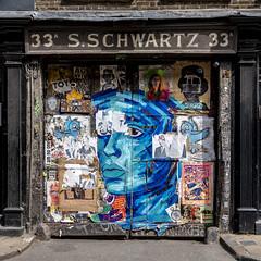 33A Fournier Street (louisberk.com) Tags: spitalfields fournierstreet sschwartz 33a graffiti posters huguenot eastend london nopeople streetart fujifilmgfx50s fujinon3264