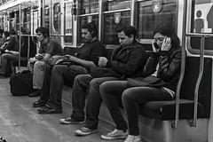 Closed eyes (Wal Wsg) Tags: gente ojocerrados closedeyes subte argentina buenosaires caba capitalfederal ciudaddebuenosaires once peoples people bw byn blackandwhite blancoynegro 7dwf 7dwfthursdaysbw canoneosrebelt3 candid phwalwsg subway subteargentino subterraneo subteb subtelineab metro