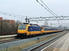 NS Traxx 186 040 + 16506 te Schiedam Centrum (erwin66101) Tags: ns bombardier traxx locomotief nshispeed nsinternational nsinternationaal icrmrijtuigen icrmrijtuig icrrijtuigen icrrijtuig icrstam schiedam centrum intercity den haag cs centraal denhaagcentraal