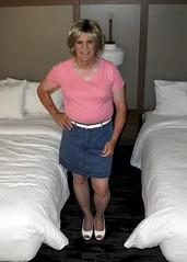 Jean Skirt (krislagreen) Tags: tg tgirl transvestite transgender cd crossdress miniskirt pink denim femme feminized feminization blond