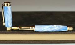 Sky Blue Pearl Fountain Pen - Bock Gold Nib (BenjaminCookDesigns) Tags: fountainpen custom bespoke engraved personalised classic vintage artdeco style gift birthday christmas fpgeeks fpn giftforhim giftforher füllfederhalter blue pearl