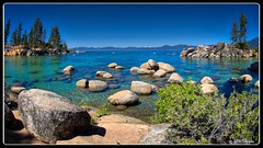 Sand Harbor State Park (PEN-F_Fan) Tags: microfourthirds mft m43 mirrorless raw photoborder photoedge photoframe olympus sandharbor sandharborstatepark nevada unitedstates sky water lake laketahoe trees rocks hdr aurorahdr2018 on1photoraw2018 fisheyelens mzuiko8mmf18pro olympusem10markii sierranevada mouontains snow shallows inclinevillage landscape bay rock grass mountain tree beach forest