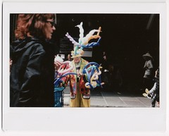 Requisite Hat Photo 4 (yarr2d2) Tags: speedgraphic graflex fujiinstaxwide polaroid doxie notreally4x5 largeformat nyc newyorkcity balloons easterbonnetfestival2018 parade