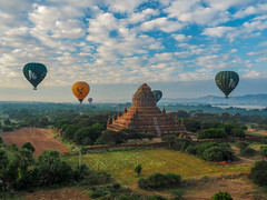 Saytana Gyi Pagoda from Balloon - Bagan, Myanmar (Burma) (QuietRain31) Tags: balloon balloons green yellow landscape hot air temples temple pagoda pagodas ngc natgeo travel burma myanmar asia lonely planet photography photo