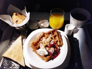 EY Inflight Breakfast: Waffles with Cherry