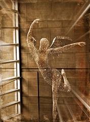 ETHERAL ANGEL........... (marsha*morningstar) Tags: artprizegrandrapids92213 angel light heavenly bars window wings arms legs artistic
