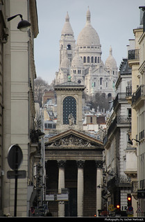 View along Rue Laffitte towards Sacré-Cœur de Montmatre and Église Notre-Dame de Lorette, Paris, France