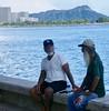 Friends Talking Story at the Beach (sembach001) Tags: streetphoto beach diamondhead hawaii panasoniczs100