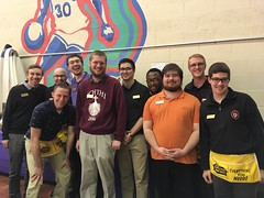 Seminarians ready to serve at the annual Seminary Auxiliary Card Party - April 19, 2018.