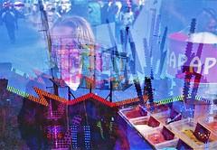 Techno power (cestlameremichel) Tags: canon ae1 photo porst color x 200 expired film 2005 funfair lights neon 35mm 35mmers analog analogue colorful argentique triple exposure multiple bordeaux foire aux plaisirs experimental psychedelic strange