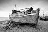 Our Lady (ShrubMonkey (Julian Heritage)) Tags: rx16 fishing boat clinker wooden hull old shingle beach coast coastal nautical mono bw thestade hastings eastsussex ourlady ropes nets sea bow