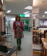 Cafe Mirror Selfie (justplainrachel) Tags: justplainrachel rachel cd tv crossdresser trans pink green floral dress selfie selfportrait mirror reflection transvestite cafe unanderra