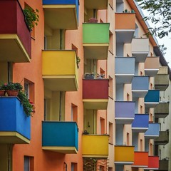 Happy Easter! (Paul Brouns) Tags: berlin germany facade architecture architectuur architektur архитектура берлин германия easter colors colours happy balconies plants details angle perspective square urban geometry celebration пасха