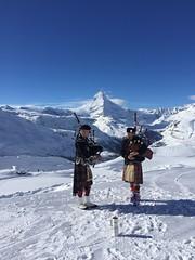 Scotland in Zermatt (*nausika*) Tags: bagpipers scotland zermatt snow cervin mountains winter switzerland funny