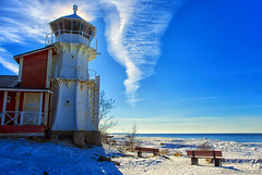 Bright light & blues (Joni Mansikka) Tags: winter nature outdoor sunlight blues sea shore lighthouse snow sky clouds horizon landscape balticsea kallo pori suomi finland canonef2470mmf28lusm