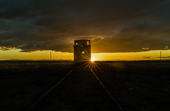 Off Into the Sunset / End of the Line (Tom Herlyck) Tags: caboose sunset abandoned train flickr cloudy decaying easterncolorado greatamericandesert highplains rail light sky digital sun landscape goldenhour yellow old colorado railroad michigan detroit america clouds decay fowlercolorado pueblocounty goldenlight april southerncolorado tracks