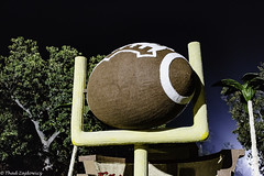 Football and Goalpost (Thad Zajdowicz) Tags: zajdowicz pasadena california usa travel roseparade canon eos 5d3 5dmarkiii dslr digital availablelight lightroom outside outdoors color colour night football goalpost sports concept competition college ef50mmf12lusm