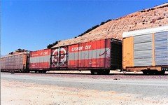 Southern Pacific hi-cube boxcar at Cajon Summit in 1992 (Tangled Bank) Tags: train railroad railway rolling stock cars equipment freight old classic heritage vintage fallen flag sp cajon pass summit california