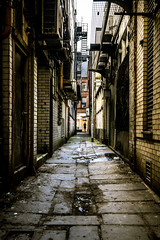 Diagon Alley (Mike Kniec) Tags: road alley manchester manchesteralley pictureofanalley alleyway darkness passageway back backstreet lane path pathway walk corridor aisle snicket arcade ginnel twitten vennel wynd gully allée uk