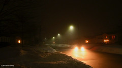 Evening coffee run... (Trevdog67) Tags: evening coffee run dark night winter street suburban suburbia car lights streetlights carlights fog snow nikon d7500 sigma 1020mm moncton newbrunswick nouveaubrunswick canada