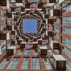Space Assimilation (Paul Brouns) Tags: angle view amsterdam holland amstelveen netherlands photographic art rhythm repetition repeat again paulbrouns paulbrounscom edit windows squares square balconies balcony lookup lookingup perspective architecture transformation