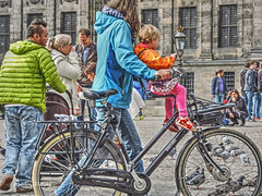 transportation (albyn.davis) Tags: amsterdam netherlands bicycle child mother woman family people europe transportation colors colorful green blue orange pink windows building