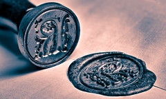 Sealing Wax (roseysnapper) Tags: backintheday heliconfocus macromondays niksoftware nikond810 silverefexpro20 closeup focusstack naturallight splittoning waxseal windowlight lightroom macro photoshop seal wax