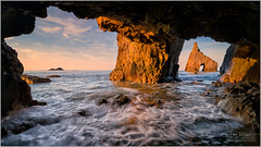 THE ARCH AT CAMPIECHO (vieribottazzini) Tags: spain spagna asturias asturie sunset tramonto arch campiecho leica leicasl firecrest workshop photography landscape seascape wave waves formatthitech cave inspiring waders voigtlander 15mm sea amazing beauty serene ngc flickrunitedaward