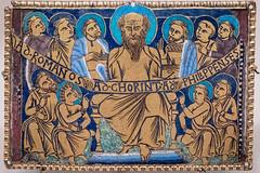 Plaque with Saint Paul and his disciples (Nick in exsilio) Tags: newyork unitedstates us enamel paul apostle saint latin inscription newtestament epistles letters romans corinthians philippians medieval