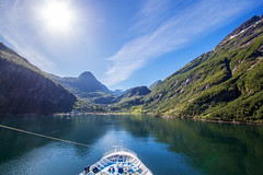 Sailing into the Sun (An Italian Girl at Heart) Tags: norway sailing sky fjord ship marelladiscovery geiranger