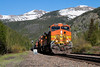 Foreigners in the High Country (Wheelnrail) Tags: bnsf burlington northern santa fe ge c449w hpvoden union pacific up railroad rail road moffat tunnel subdivision rocky mountains snow cap peaks train trains locomotive tree forest mountain car landscape sky