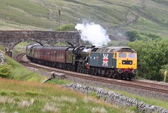 Ais Gill Mallerstang Cumbria 12th June 2018 (loose_grip_99) Tags: ais gill cumbria mallerstang england uk steam engine locomotive railway railroad rail train mainline lms jubilee 460 45690 leander class47 47508 fellsman transportation preservation gassteam uksteam trains railways settlecarlisle june 2018