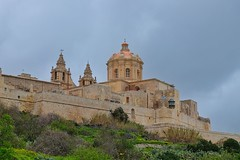 Mdina (Douguerreotype) Tags: cathedral church fort wall buildings city malta architecture
