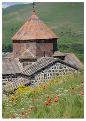 Church (Hayravank Monastery) at Lake Sevan (mcfcrandall) Tags: church monastery religion christian cross stone poppy flowers wildflowers green