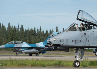 Pilots prepare for take off during Red Flag Alaska at Eielson Air Force Base, Alaska