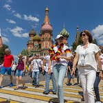 Tourists in front of the Saint Basil's Cathedral in Moscow thumbnail